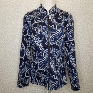 Chico's Zip Up Blue Paisley Jacket Blazer